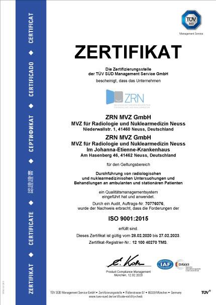 Zertifikat ZRN MVZ